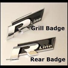 NERO CHROME VW R LINE Grill + Posteriore Set Distintivo Emblema Griglia Anteriore Decalcomania Auto 34bs