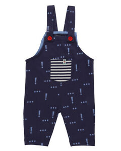 Lilly and Sid Baby Boy Blue Dungarees Limited Edition Exclamation Print Organic