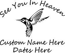 In Loving Memory Hummingbird Custom Vinyl Decal Sticker Car Truck Home Window