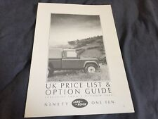 1987 Land Rover Defender 90 and 110 Original Price List Option Guide Prospekt