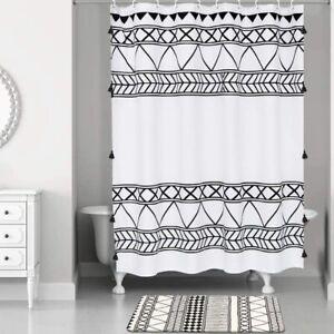 Black White Boho Bohemian Tribal Geometric Tassel Fabric Shower Curtain + Hooks