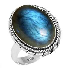 925 Sterling Silver Ring Natural Labradorite Handmade Jewelry Size 11 bx95756