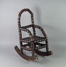 Antique Folk Art Doll Rocker fauteuil primitive Canette Bobine Circa 1875