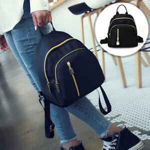 1pc Women Lady Large Black Backpack Waterproof Nylon Rucksack Casual School Bag