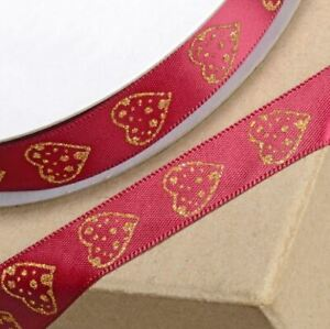 BURGUNDY SATIN RIBBON WITH GOLD GLITTER HEART 15mm x 25 METERS FULL REEL CRAFT