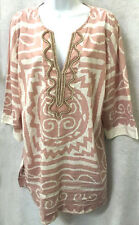 Soft Surroundings Pink White Beaded Tunic Top Shirt Blouse Tribal Aztec Size 1X