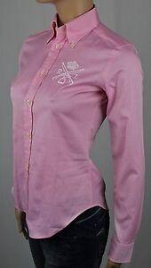Ralph Lauren Pink Slim Fit Blouse Shirt RL Equestrian Crest NWT