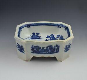 Large English Pearlware Pottery Blue & White Dog Bowl Boy On A Buffalo