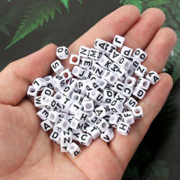 100pcs 6mm Mix Letter Square Alphabet Acrylic Beads DIY Bracelet Jewelry Making