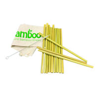 Strohhalm-Set aus 12 Bambus Strohälmen als Alternative Plastik Strohhalmen