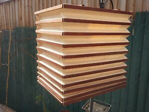 Mid Century Modern Style Pendant Lightshade Wood Paper Box Square Cube  Lantern