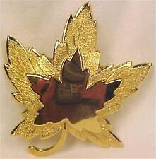 Monet Maple Leaf Pin Goldtone Metal Stippled Edge Retro Vintage Nice Condition