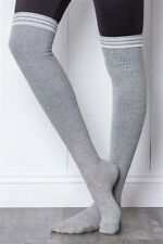 Extra Long Thigh High GREY SOCKS /ONE SIZE Fits Most- 2 Pairs