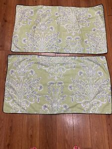 LAURA ASHLEY HOME SHAMS SET OF 2 KING SIZE FLORAL GREEN WHITE BLACK TRIM