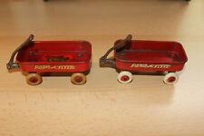 "2 Vintage Red Radio Flyer Wagon Miniatures 2""x4"" Wagons"