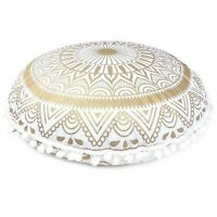 "32"" Large Round Floor Pillows Indian White Gold Mandala Cushion Covers Bohemian"
