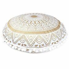 "32"" Large Round Floor Pillows Indian White Gold Mandala Cushion Covers Bohemian"