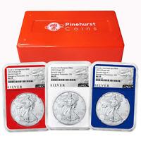 2021 (S) $1 American Silver Eagle 3 pc. Set NGC MS70 Emergency Production FDI AL