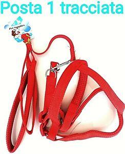 Pettorina alla Romana in nylon, regolabile sgancio rapido per cane. Rosso...