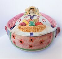 """VTG Rare Italica ARS Woman W/Fruit Basket Dish Covered Bowl Hand Painted 18""""x 7"""""""