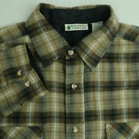 Northwest Territory Button Up Shirt Mens M Brown Tan Long Sleeve Plaid Casuals