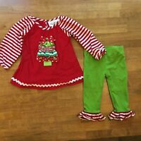 Rare Editions Christmas Tree Outfit Baby Girls Sz 12 M Holiday Tunic Legging Set