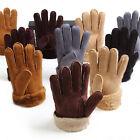 Premium Genuine Womens Mens Sheepskin Gloves Fur Cuff Winter Warm Glove Mittens