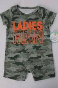 NEW Baby Boys Camo Romper Size 6 Months Outfit Camouflage Ladies Man Creeper