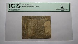 1775 Two Shillings Six Pence Connecticut Colonial Currency Bank Note Bill 2s6d