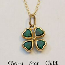 Solid 9K yellow gold 375 green shamrock on gf chain necklace Italy
