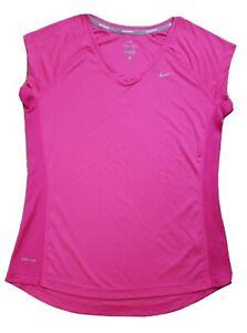Nike Miler Dri-Fit Women's V-Neck Running Shirt Pink Size Medium Gym Yoga Vented