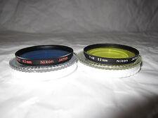 Lot 2 Nikon 52 mm Filter Lens (Y48-Yellow, B12-Blue) (Made in Japan)