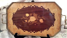 Birks Brass Wood Floral Inlay Serving Tray