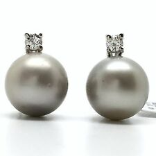 14k White gold natural diamond and south sea pearl stud earrings
