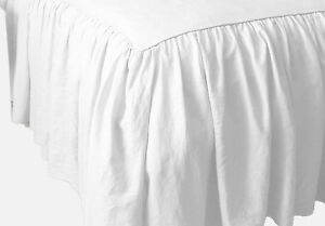 SALE!! DUST RUFFLE BED SKIRT WHITE SOLID 1000 TC COTTON CHOSE SIZE & DROP LENGTH