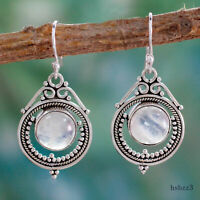 Vintage Silver Round Natural Moonstone Drop Dangle Hook Earrings Women Jewelry