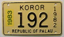 Republic of Palau 1983 TOWN OF KOROR MOTORCYCLE License Plate HIGH QUALITY # 192