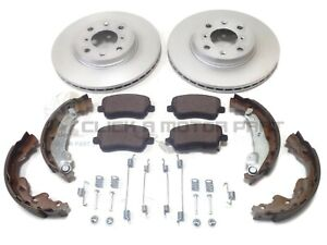 FRONT 2 BRAKE DISCS & PADS & REAR SHOES & FITTING KIT FOR SUZUKI SWIFT 2005-2011