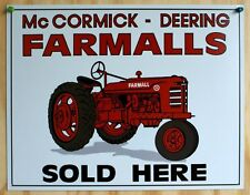 McCormick Deering Farmall Sold Here Tin Metal Sign Tractor Country Barn Farm 29a