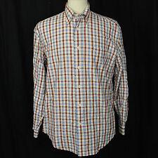 Façonnable France 100% Cotton Check Plaid Long Sleeve Casual Shirt Men Sz M EUC