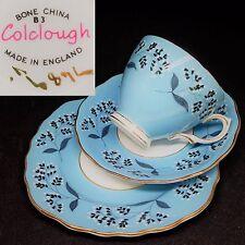Colclough c1940s Blue 7689 White Flowers English Vintage Bone China Trio Set