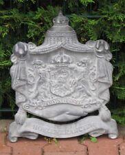 *Großes Königliches Wappen-Schild Antik Grau-Gusseisen