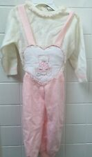 Vintage Baby Girls Size 0 White Pink Knit Set Winter Jumper Overalls EUC