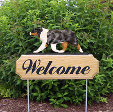 Australian Shepherd Wood Welcome Outdoor Sign Blue Merle