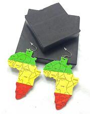RASTA Wooden Africa One Love Reggae Dangle Earring Marcus Garvey African Irie