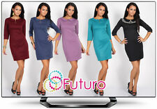 Classic Dress with Corral & Zipper Tunic Style Crew Neck Size 8-16 FK1186