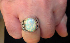 White Fire bird Opal mens ring 11 Sterling Silver 925 Thunderbirds 925 German
