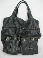 DKNY DONNA KARAN Large Handbag Shoulder Bag Black Satchel Saddlebag Silver Trim