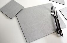 Set 8 ARTISAN SILVER Bonded Leather PLACEMATS & 8 COASTERS Made In UK TABLE MATS