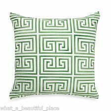"Trina Turk Trellis Geometric 20"" Square Toss Pillow White Green Palm Springs"